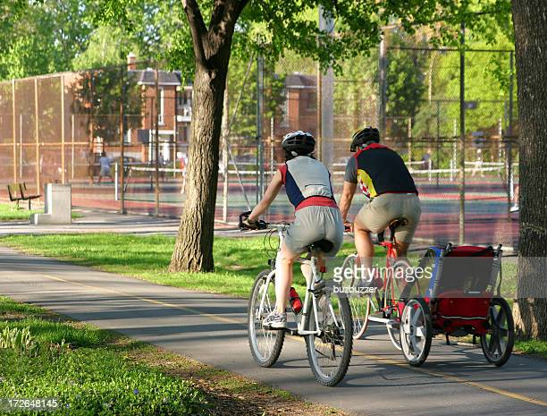 Young Family in Bicycle Ride
