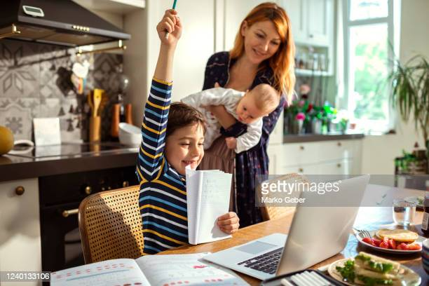young family in the kitchen - education stock pictures, royalty-free photos & images