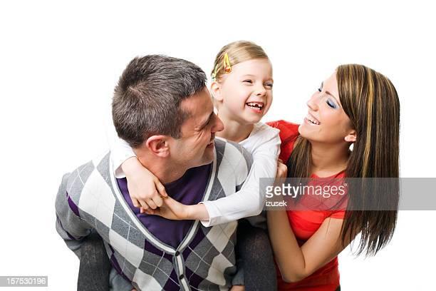 Familia joven Riendo juntos