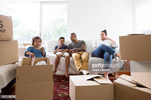 A young family move into a new home