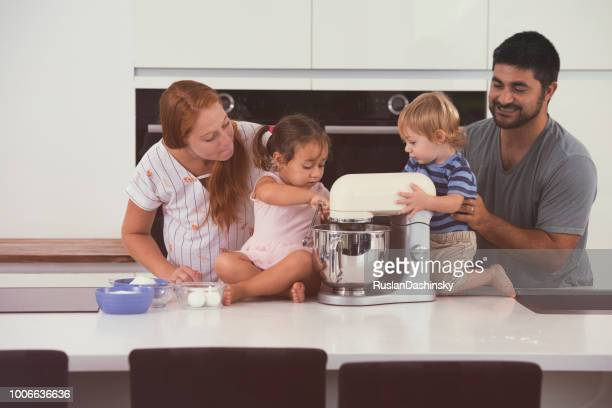 Young family spending quality time at home.