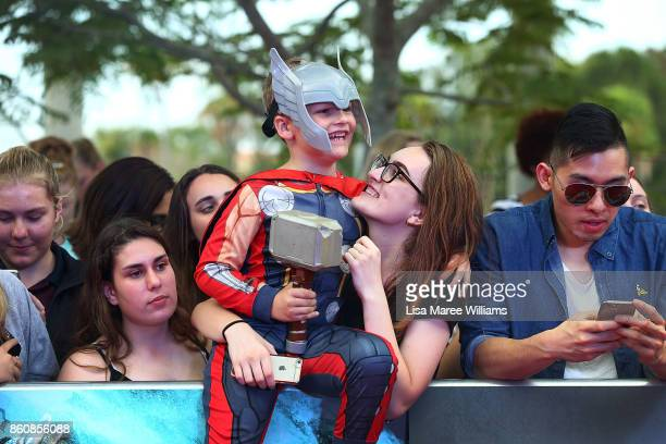 A young fan awaits the arrival of Chris Hemsworth during the Australian Premiere of Thor Ragnarok on October 13 2017 in Gold Coast Australia