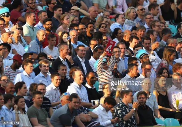A young fan celebrates a Surrey boundry during the Vitality Blast match between Surrey and Essex Eagles at The Kia Oval on July 12 2018 in London...