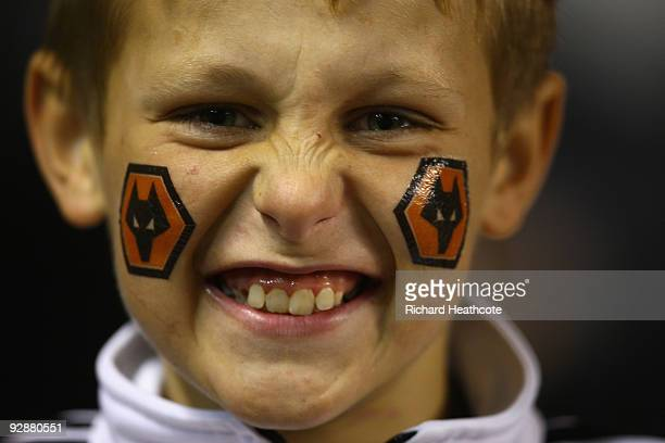 Young fan enjoys the atmosphere prior to the Barclays Premier League match between Wolverhampton Wanderers and Arsenal at Molineux on November 7 2009...