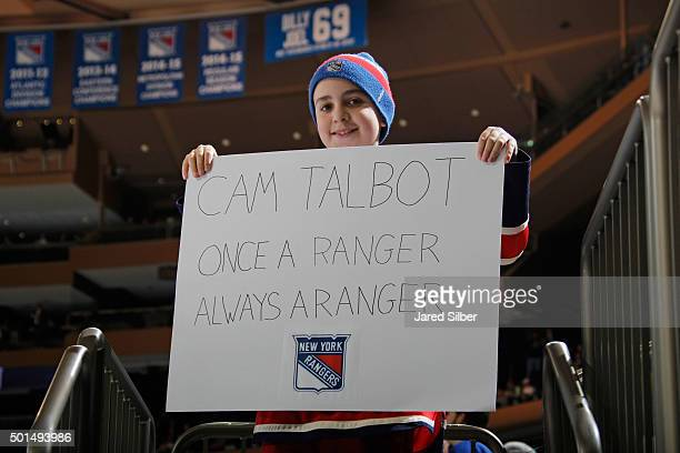 A young fan holds up a sign for former Ranger and current Edmonton Oilers player Cam Talbot during warmups at Madison Square Garden on December 15...