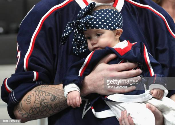 A young fan is seen during the 2019 NHL AllStar Mascot Showdown at the SAP Center on January 24 2019 in San Jose California