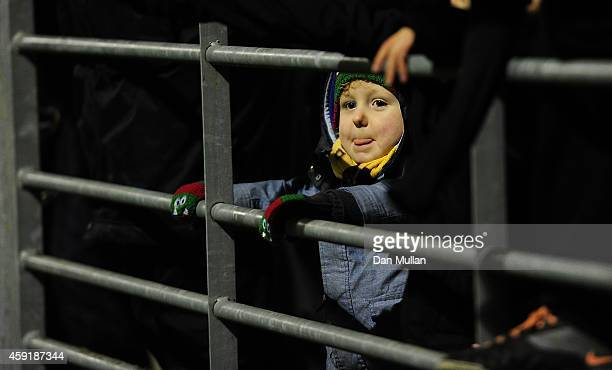 A young fan looks on ahead of the FA Cup First Round match between WestonSuperMare and Doncaster Rovers on November 18 2014 in WestonSuperMare England