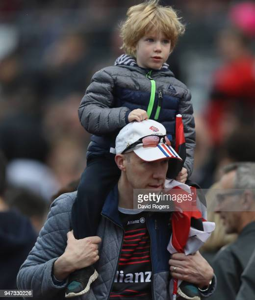 A young fan looks on during the Aviva Premiership match between Saracens and Bath Rugby at Allianz Park on April 15 2018 in Barnet England
