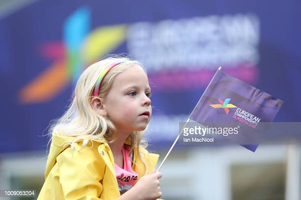 A young fan looks on during the European Championships Glasgow 2018 Opening Moment at George Square on August 1 2018 in Glasgow Scotland