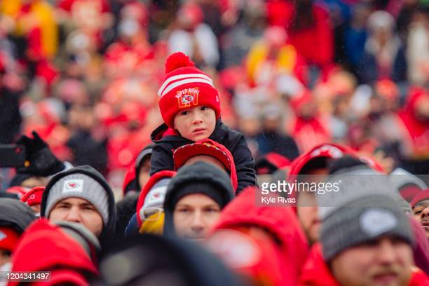 A young fan looks on during the Kansas City Chiefs Victory Parade on February 5 2020 in Kansas City Missouri