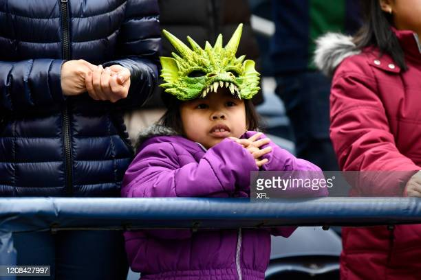 Young fan looks on during the XFL game between the Dallas Renegades and the Seattle Dragons at CenturyLink Field on February 22, 2020 in Seattle,...