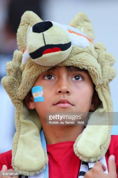 A young fan of Argentina looks on during the 2018 FIFA World Cup Russia group D match between Argentina and Iceland at Spartak Stadium on June 16...