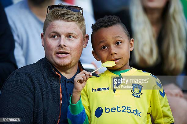 A young fan of Brondby IF looks on during the Danish Alka Superliga match between Brondby IF and FC Nordsjalland at Brondby Stadion on May 9 2016 in...