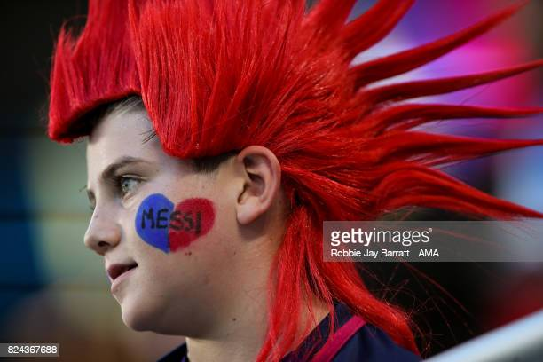 A young fan of FC Barcelona with Messia face paint on during the International Champions Cup 2017 match between Real Madrid and FC Barcelona at Hard...