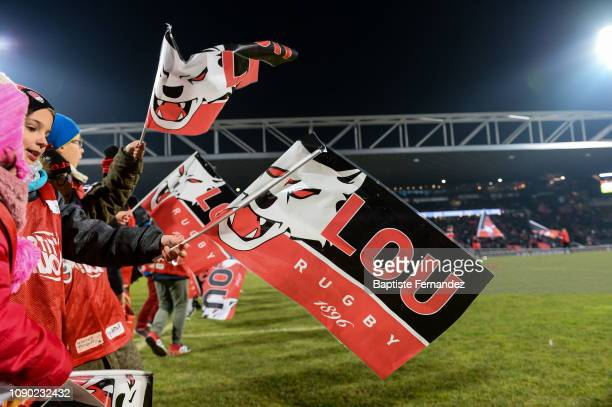 Young fan of Lyon LOU during the French Top 14 Rugby match between Lyon OU and Racing 92 at Gerland Stadium on January 26 2019 in Lyon France