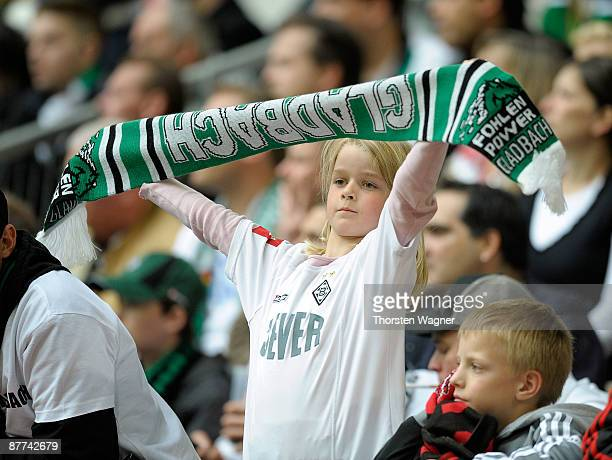 A young fan of Moenchengladbach seen during the Bundesliga match between Bayer 04 Leverkusen and Borussia Moenchengladbach at LTU Arena on May 16...