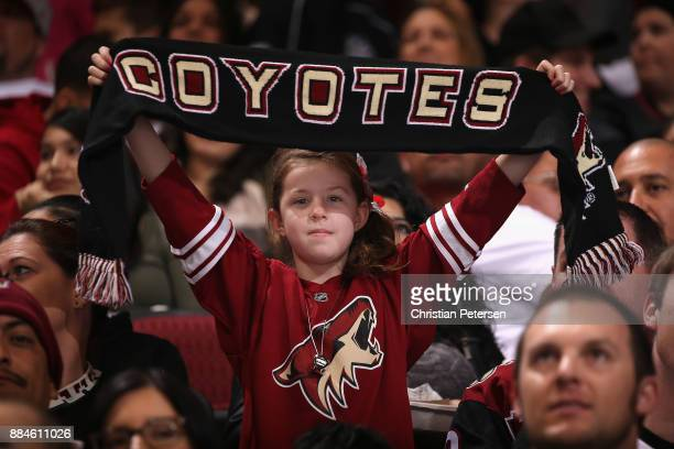 A young fan of the Arizona Coyotes holds up a team scarf during the second period of the NHL game against the New Jersey Devils at Gila River Arena...