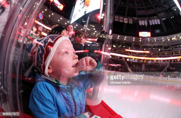A young fan of the Colorado Avalanche waits for warmups to start prior to the game against the Anaheim Ducks at the Pepsi Center on January 15 2018...