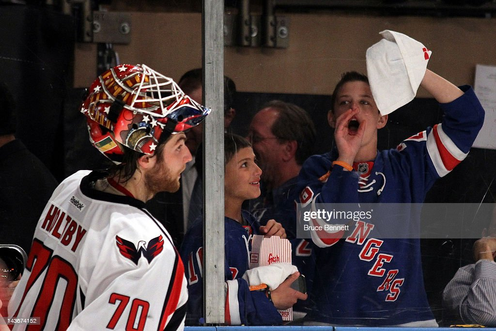 A Young Fan Of The New York Rangers Heckles Goalie Braden Holtby Of News Photo Getty Images