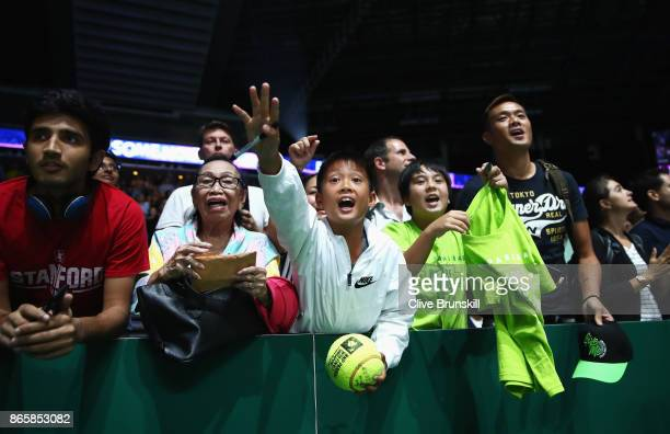 A young fan shouts for an autograph during day 3 of the BNP Paribas WTA Finals Singapore presented by SC Global at Singapore Sports Hub on October 24...
