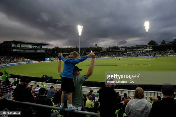 A young fan shows her support during the Sydney Thunder v Melbourne Stars Big Bash League Match at Manuka Oval on December 21 2018 in Canberra...