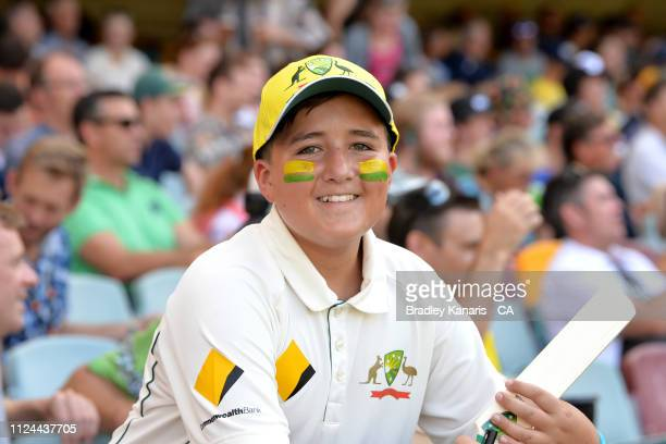 Young fan shows his support during day one of the First Test match between Australia and Sri Lanka at The Gabba on January 24, 2019 in Brisbane,...