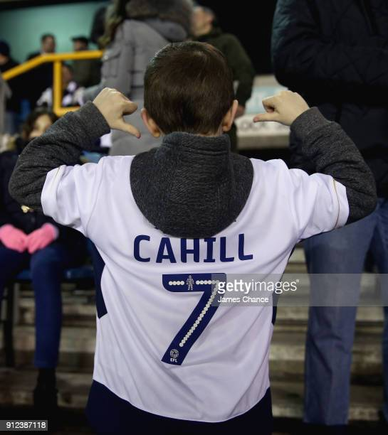 A young fan wears a shirt welcoming new Millwall signing Tim Cahill prior to the Sky Bet Championship match between Millwall and Derby County at The...
