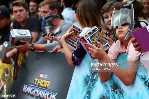 Young fans await the arrival of Chris Hemsworth for the Australian Premiere of Thor Ragnarok on October 13 2017 in Gold Coast Australia