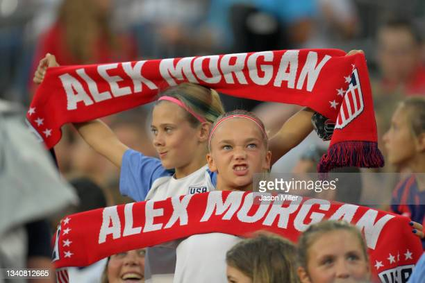 Young fans cheer on Team United States during the first half of the against Paraguay at FirstEnergy Stadium on September 16, 2021 in Cleveland, Ohio.