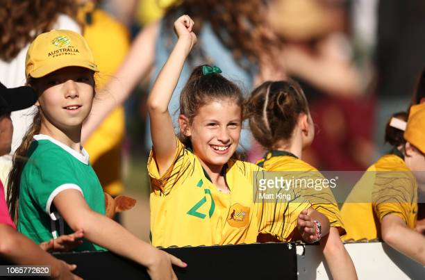 Young fans enjoy the action during the International Friendly match between the Australian Matildas and Chile at Panthers Stadium on November 10 2018...