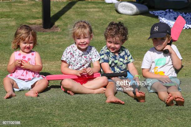 Young fans enjoy the cricket during day one of the Sheffield Shield match between Victoria and New South Wales at Junction Oval on March 3 2018 in...