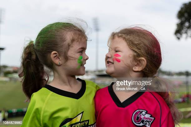 Young fans face off during the Women's Big Bash League Semi Finals on January 19 2019 in Sydney Australia