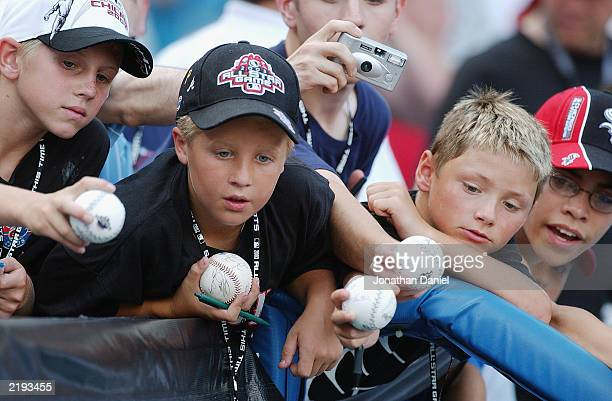 Young fans hope for an autograph before the 74th Major League Baseball AllStar Game between the American League AllStars and the National League...