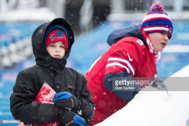 Young fans look at the field before a game between the Buffalo Bills and Indianapolis Colts on December 10 2017 at New Era Field in Orchard Park New...