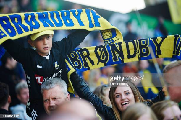 Young fans of Brondby IF celebrate with scarfs after the UEFA Europa League Qualification match between Brondby IF and VPS Vaasa at Brondby Stadion...