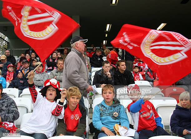 Young fans of Cottbus are seen during the Bundesliga match between FC Energie Cottbus and Hamburger SV at the Stadion der Freundschaft on October 5,...