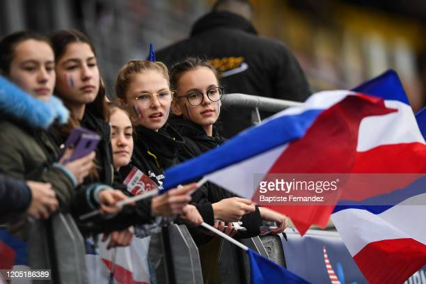 Young fans of France during the Tournoi de France International Women's soccer match between France and Canada on March 4 2020 in Calais France