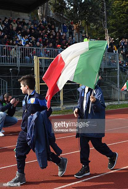 Young fans of Italy before the international friendly match between U16 Italy and U16 Germany on March 18 2015 in Recanati Italy