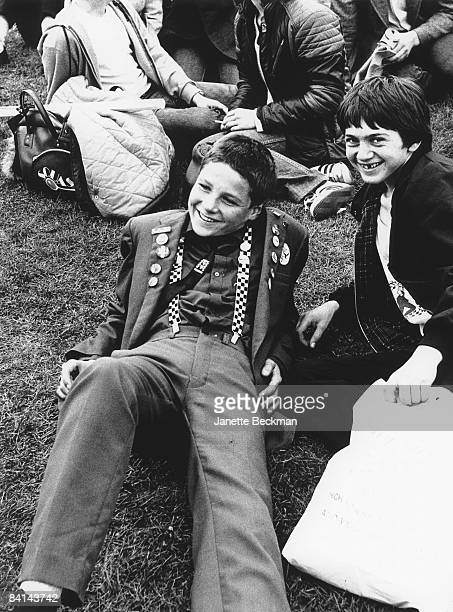 Young fans of the 2Tone sound laze about at the Loch Lomond festival in Scotland 1981