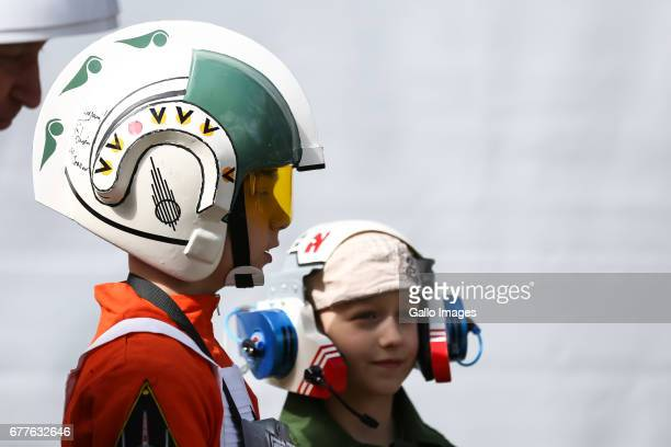 Young fans participate in the STAR WARS Day on May 01 2017 at Nowy Fort in Warsaw Poland The event for famous science fiction movie series...
