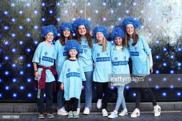 Young fans pose during a New South Wales Blues public reception after winning the 2018 State of Origin series at The Star on July 12 2018 in Sydney...