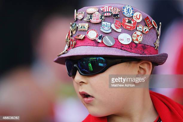 A young fans show his pin badge collection during the Barclays Premier League match between Sunderland and Tottenham Hotspur at the Stadium of Light...