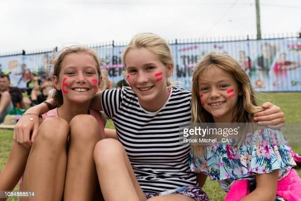 Young fans show support during the Women's Big Bash League Semi Finals on January 19 2019 in Sydney Australia