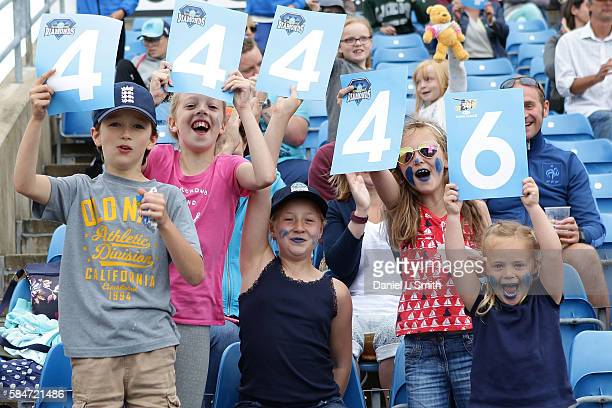 Young fans show their excitement during the inaugural Kia Super League women's cricket match between Yorkshire Diamonds and Loughborough Lightning at...