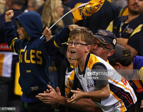 Young fans show their support during the AFL round one match between the West Coast Eagles and the Brisbane Lions at Domain Stadium on March 27 2016...