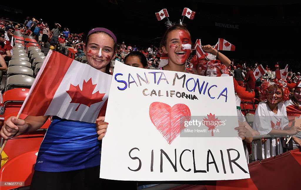 Young fans show their support for Canada ahead of the FIFA Women's World Cup 2015 Round of 16 match between Canada and Switzerland at BC Place Stadium on June 21, 2015 in Vancouver, Canada.