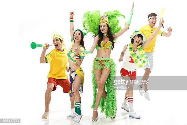 young fans sing and dance - asian cheerleaders stock photos and pictures