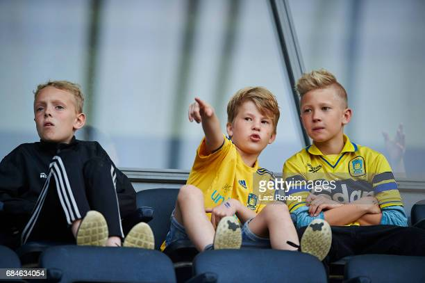 Young fans waiting for the game to start prior to the Danish Alka Superliga match between Brondby IF and Lyngby BK at Brondby Stadion on May 18 2017...