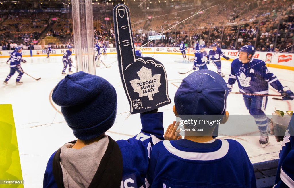 Young fans watch the Toronto Maple Leafs warm up before facing the Montreal Canadiens at the Air Canada Centre on March 17, 2018 in Toronto, Ontario, Canada.