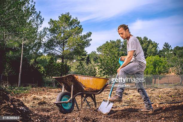 young farmer getting ready for organic agriculture - wheelbarrow stock photos and pictures